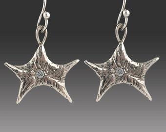Silver Star Earrings with Flush Set Diamonds