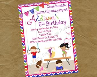 Gymnastics Birthday Party Invitation BOYS and GIRLS - Digital or Printed - Rainbow