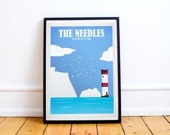 Lighthouse Art Print, The Needles, Isle of Wight, Nautical Decor, Nursery Decor, Coastal Decor, Beach Decor, Beach Wall Art, Seascape