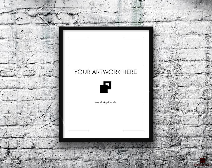 8x10 16x20 Vertical Digital BLACK FRAME MOCKUP, Styled Photography Poster Mockup, old White Brick Background, Framed Art, Instant Download