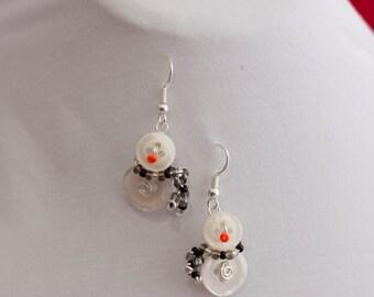 Cheery Snowman Button Earrings