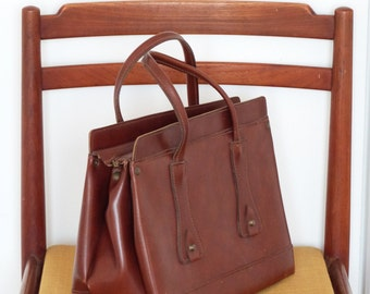 French handbag from mid century - Vintage purse - Brown top handle bag -