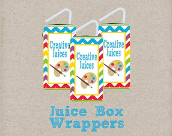 Creative Juices Juice Box Wrappers. Instant Digital Download. Perfect for Art Party, Paint Party, or Art Class. Drink Wrapper, Drink Label