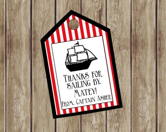 Personalized Pirate Favor Tag. Thanks for Sailing By, Matey! Perfect for Pirate or Nautical Birthday Party. Digital Favor Tags