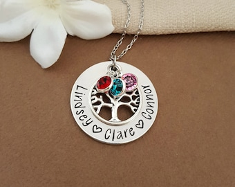 Birthstone Tree Necklace | Personalized Family Tree Necklace | Grandma Necklace | Family Tree Necklace For Grandmother