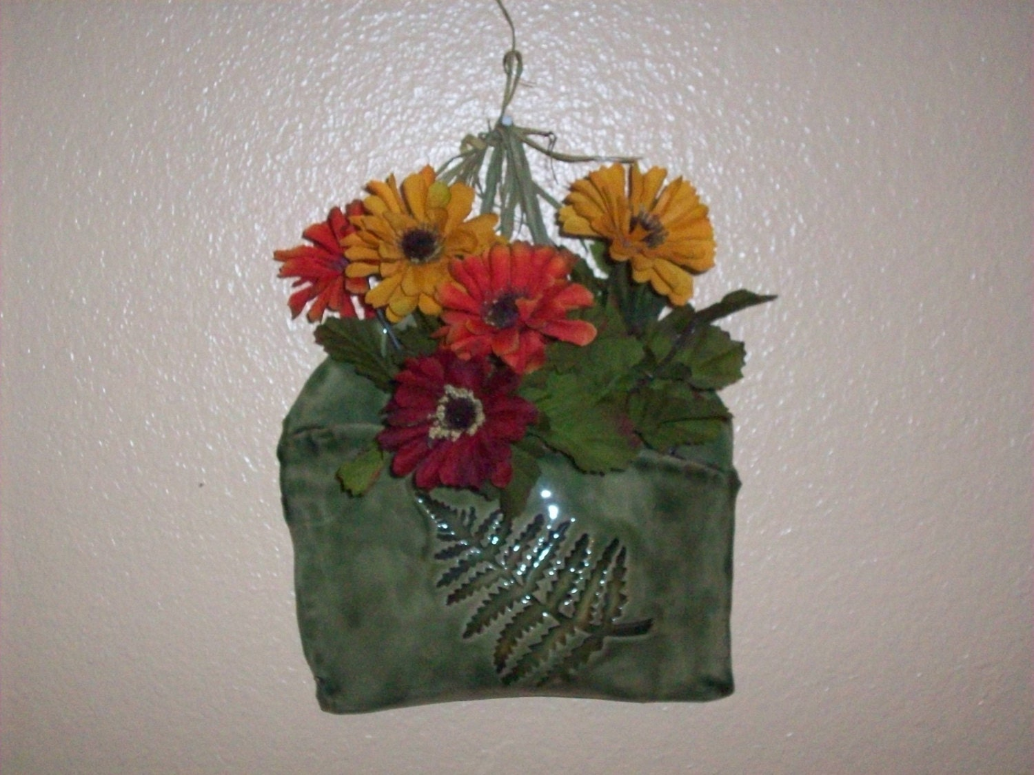 Wall Pocket Flower Holder Floral Sconce Ceramic by Clayworkz