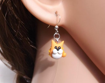 cat earrings, made from fimo and on sterling silver ear wires. Small cat earrings, ginger cat earrings