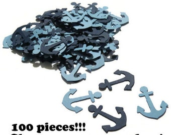 anchor confetti, nautical baby shower decorations,  Ready in 3-5 Weekdays, 100 Pieces, Navy Blue, gender reveal