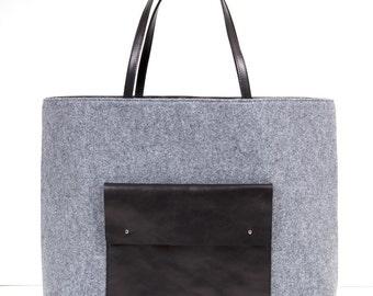 Oversized Felt And Leather Tote Bag - Handmade Felt And Leather Tote