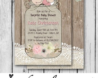 Girl Baby Shower Invitation, Baby Girl, Baby, Burlap and Lace, Mason Jar, Flowers, Vintage, Pink, Wood - Baby Shower - Digital and Printed