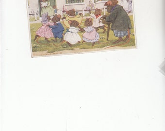 Old Postcard,Margaret Tempest, The Hurdy Gurdy,Little Dressed Mice Dancing To The Hurdy Gurdy