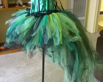 Green Burlesque corset with rhinestones and bustle tulle skirt