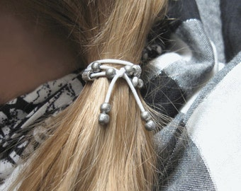 Beaded Ponytail Holder, Hair Elastic, Elastic Hair Tie, Beaded Hair Tie, Ponytail Elastic, Bohemian Hair Accessories, Yoga Hair Ties, Boho
