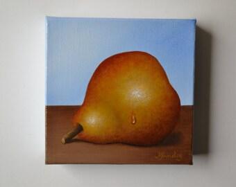 Original 5x5' acrylic small still life painting, pear painting, food painting, fruit painting, kitchen painting, tiny kitchen art, chef art