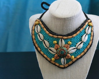 Collar Necklace,  Beaded Bib Necklace,Multicolor Statement Necklace, Tribal Bohemian ,Bold Necklace,Bohochic, Nepal Jewelry