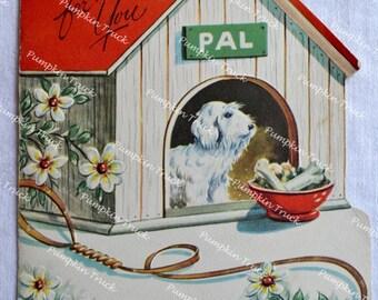 UNUSED Vintage Greeting Card - Birthday Dog House