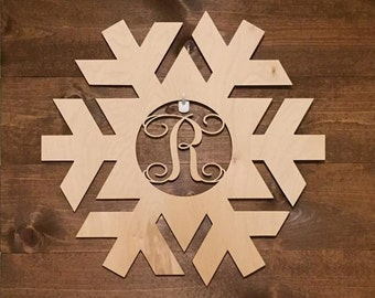 "18"" Wood Snowflake Laser Cutout Shape Winter Monogram Initial Unfinished"