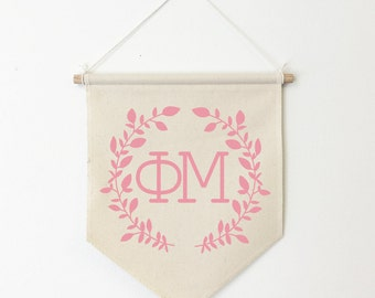 Phi Mu Wreath Wall Banner, ΦΜ, Sorority Wall Hanging, Sorority Gift, Greek Letters, Pennant, Wall Flag, Dorm Decor