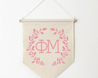 Phi Mu Wreath Wall Banner, ΦΜ, Sorority Wall Hanging, Sorority Gift, Greek Letters, Pennant, Wall Flag, Dorm Decor