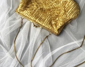 Beaded Clutch, Beaded Purse, Vintage Clutch, Bridal Clutch, Wedding Purse, Wedding Clutch, Vintage Purse, Bridal Purse, Gold Clutch, Bag