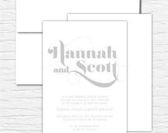 Hannah, Clean, Simple, Chic, Elegant, Customizable Wedding Invitation Set