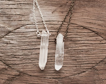 clear quartz point short necklace, silver plated or antique brass chain