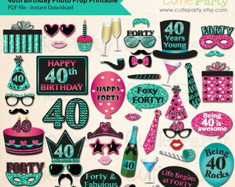 40th Birthday Party Photo Booth Prop, Fortieth Birthday Party Printable, Forty Birthday Party Printable, Turning Forty Birthday Party Prop