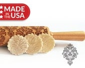 Damask Solid Maple Embossing Rolling Pin, Laser Engraved Rolling Pin. Patterned Rolling Pin