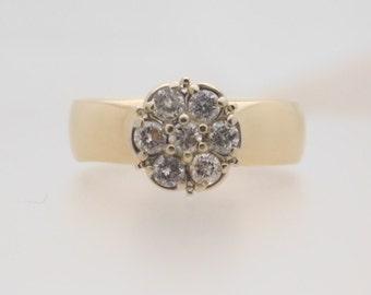 0.50 Carat T.W. Ladies Round Cut Diamond Cluster Ring 14K Yellow Wide Band