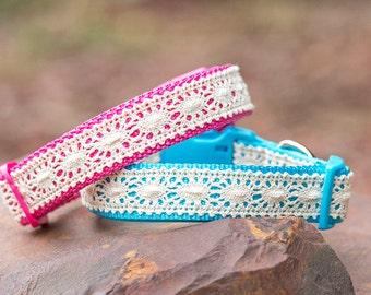 Pretty Lace Dog Collar, for M-XL, Made in Australia