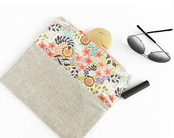 Foldover Clutch | Large Fold-Over Floral and Beige Linen Clutch by s/f Designs