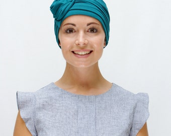 Teal Green Chemo Headwear | Hats for Cancer Patients | Cancer Hats | Hats for Hair Loss - Handmade, stylish avail. many colours, XS S M L XL