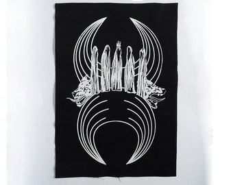 The Summoning backpatch, witches and wolves,magic and familiars - sew on occult patch w. crescent moon, black metal, handmade, screenprinted