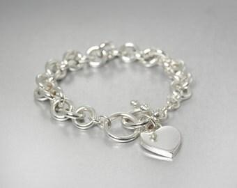Vintage Silver Heart Charm Bracelet, Chunky Silver Bracelet, Toggle Bracelet, Silver Link Bracelet, Designer Jewelry