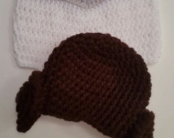 Crochet Princess Leia Hat and Diaper Cover, Starwars Inspired Baby Girl Halloween Costume
