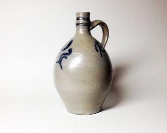 French Antique Grey and Blue Stoneware PItcher - Betschdorf Stoneware