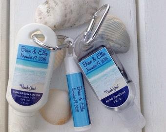 Personalized Destination Wedding 1oz or 2oz Sunscreen SPF30 1oz or 2oz Hand Sanitizer SPF15 Lip Balm Beach Party Favor Custom Labels 5 ea