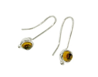 SALE Sterling Silver Citrine Hook Earrings  Genuine Citrine Earrings - Gemstone Earrings - November Birthstone - Womens Gift