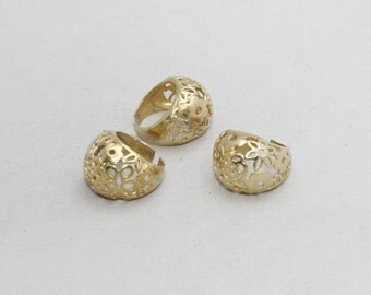 1 Pcs Raw Brass Flower Rings, 18mm Adjustable Ring, Brass Adjustable Ring , LA44