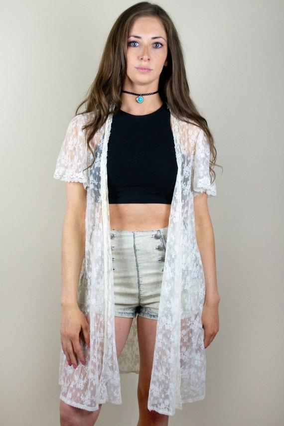 Vintage Sheer White Lace Kimono Duster Cardigan