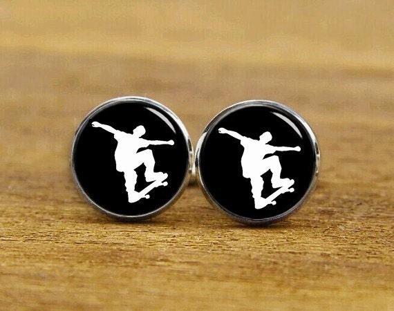 skateboarding cuff links, personalized cufflinks, custom any extreme sports, skateboard cuff links, tie clips, custom wedding cufflinks