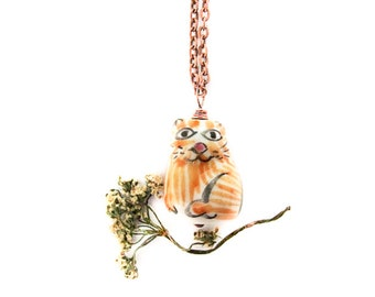 Porcelain Cat Necklace, Sweet Romantic Ginger Kitten Pendant, Cat Jewelry, Children Jewelry, For Girls