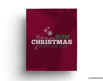Christmas printable art - with reindeer, wall art, Merry Christmas - 60% OFF