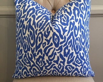 Handmade Decorative Pillow Cover - Mill Creek Anasi Azure - Blue - Leopard