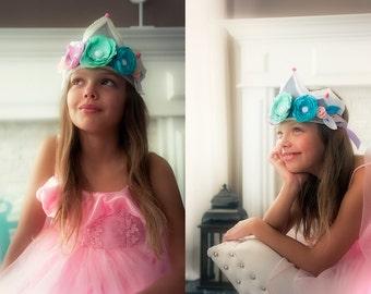 Felt Flower Crown, Felt Birthday Crown, Birthday Flower Crown, Pink Blue Birthday Crown, Pink And Green Crown Photo Prop, Birthday Crown