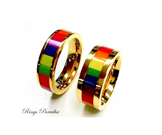 items similar to rainbow titanium rings set titanium