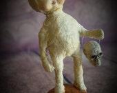 "SALE Primitive Halloween Ooak Folk Art Doll Figurine Sculpture ""Trick or Treater"" Mummy II by Deborah Bowe DCBARTSTUDIO"