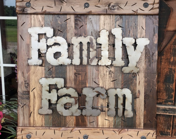 FAMILY FARM Farmhouse Decor Wall Sign Rustic BROWN Reclaimed Shutter Distressed Blue Green Farmer Metal Large Pallet Log Cabin Country Home