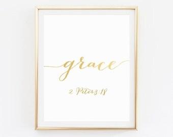 Bible Verse Art, Christian, Scripture Print, Christian Print, Bible Verse Print, Scripture Art, Grace, Scripture Wall Art, Christian Quotes