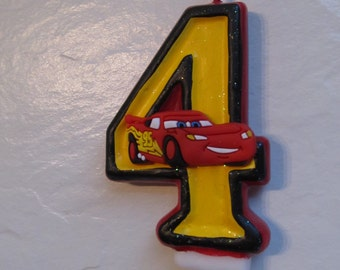 "Cars Lightning McQueen Birthday Candle Themed Party Painted 3"" Any Number"